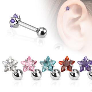 Piercing tragus/cartilage avec pierre en étoile