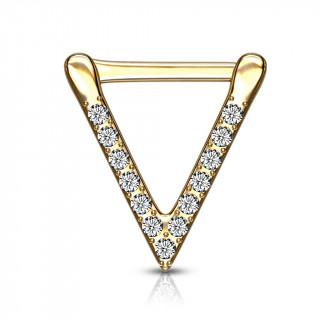 Piercing triangle clicker doré serti