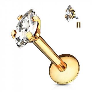 Piercing à zirconium taillé en marquise  (lèvre, cartilage...) - Doré