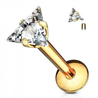 Piercing à zirconium taillé en triangle  (lèvre, cartilage...) - Doré