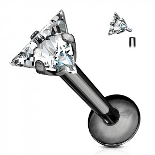 Piercing à zirconium taillé en triangle  (lèvre, cartilage...) - Noir
