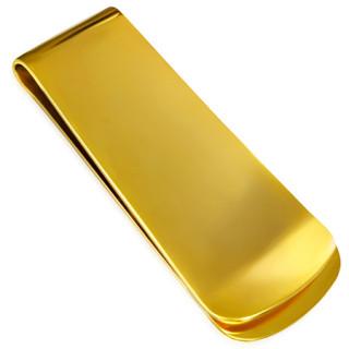 Pince à billets en acier doré à bout large