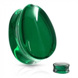 Plug en verre en forme de goutte - Vert