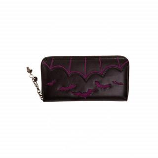 Portefeuille gothique Banned noir à chauve-souris violettes en relief