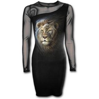 Robe gothique noire à manches longues avec Lion fier en armure