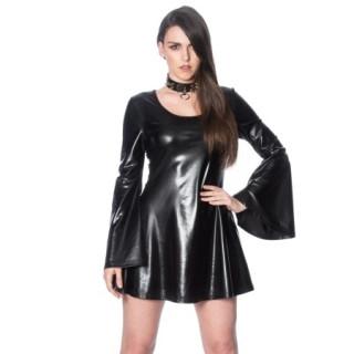 Robe gothique similicuir noir à manches larges - Banned