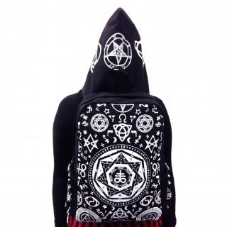 Sac à dos avec capuche gothique Banned noir à symboles ésotériques