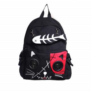 Sac à dos goth-rock Banned noir et rouge à tête de chat avec les yeux en enceintes