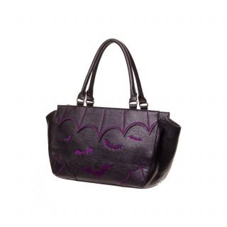 Sac à main gothique Banned noir à chauve-souris violettes en relief