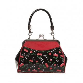 Sac à main Rockabilly Banned noir et rouge à motifs cerises et fleurs