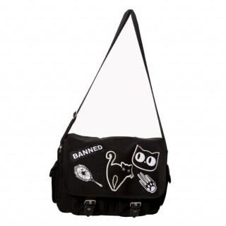 Sacoche rock à chat noir et miroir cassé - Banned