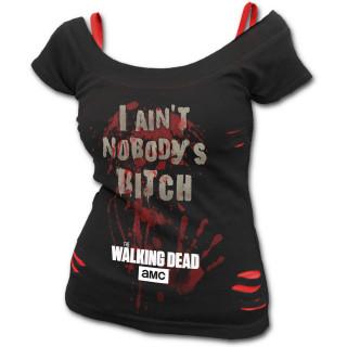 """T-shirt débardeur (2en1) femme Walking Dead """"NOBODY'S BITCH"""""""