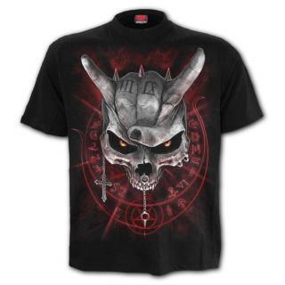 T-shirt enfant gothique à crane rock et casque squelette