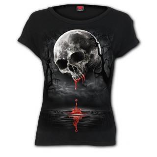 T-shirt femme à crane de sang façon pleine lune