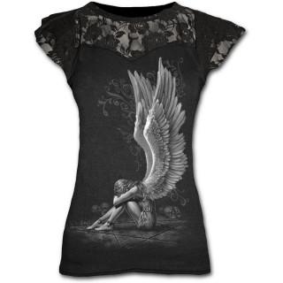 T-shirt femme gothique à manches courtes avec ange à ailes déployées sur pentagramme