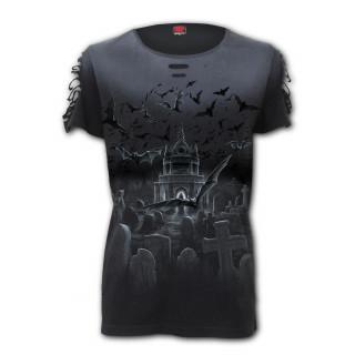 T-shirt femme gothique lacéré à ronde de nuit des chauves-souris