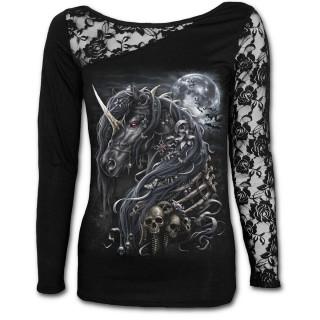 T-shirt femme gothique à manche en dentelle à licorne des ténèbres