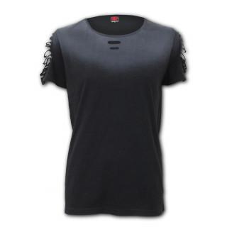 T-shirt femme gothique noir à mancherons  lacérés