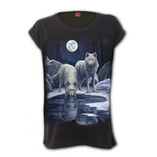 T-shirt femme à loups au bord de la rivière