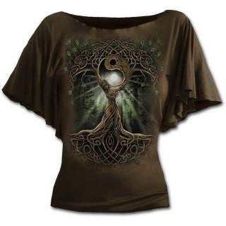 T-shirt femme marron à manches voilées avec reine de la nature style celtique