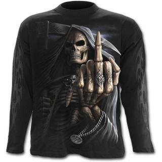 T-shirt gothique homme à manches longues avec la Mort faisant un fuck