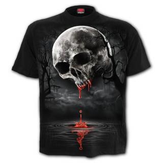 T-shirt homme à crane de sang façon pleine lune