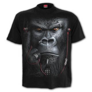 T-shirt homme à gorille tatoué tribal écoutant de la musique
