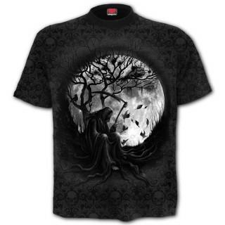T-shirt homme gothique avec La Faucheuse sur pleine lune