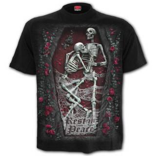 """T-shirt homme gothique à couple de squelettes """"REST IN PEACE"""""""
