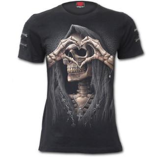 """T-shirt homme gothique """"DARK LOVE"""" à manches courtes zippées"""