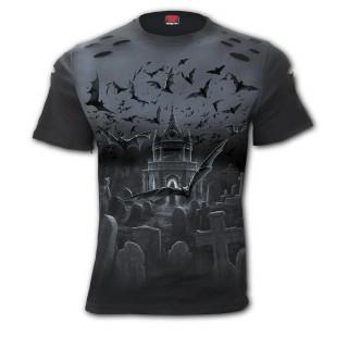 T-shirt homme gothique lacéré à ronde de nuit des chauves-souris