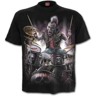 T-shirt homme gothique à Zombie jouant de la batterie