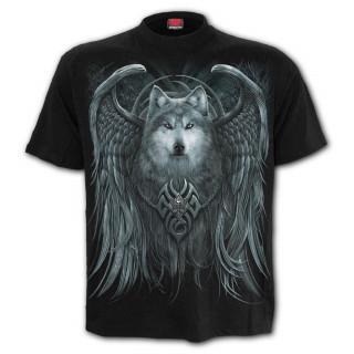 """T-shirt homme noir """"Esprit du loup""""  avec loup à ailes d'ange"""