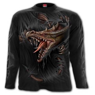 T-shirt manches longues homme à dragon déchirant le vêtement