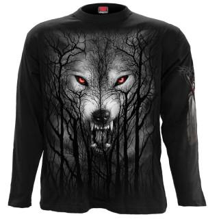 T-shirt manches longues homme à loup hurlant dans les arbres et pleine lune