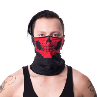 Snood (masque) noir gothique à machoire squelette rouge