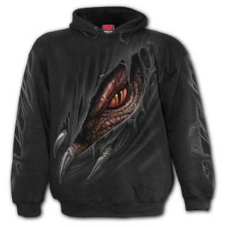 Sweat capuche enfant à dragon déchirant le vêtement