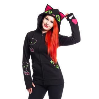 Sweat-capuche femme chat BLACK CAT HOOD - Cupcake Cult