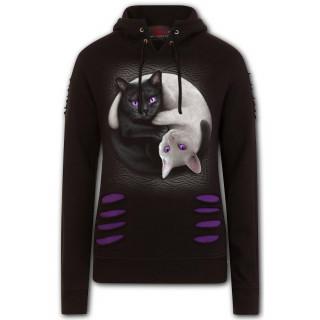 Sweat capuche femme à chats Yin Yang et griffures violettes
