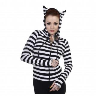 Sweat capuche femme rayé à oreilles de chat - Noir et blanc