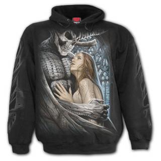 Sweat capuche homme gothique avec le diable emportant une femme