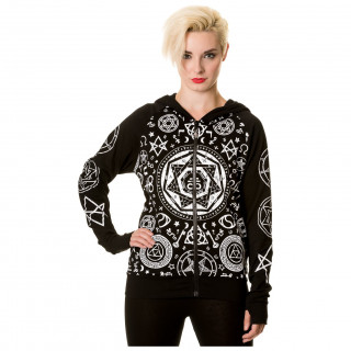 "Sweat femme capuche ""Black Pentagram"" - Banned"
