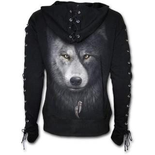 Sweat-shirt femme à lacets avec loups et attrape rêve inspiration Yin et Yang