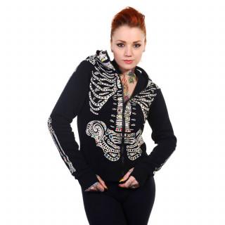 Sweat-shirt femme Banned noir à squelettes et crane de sucre