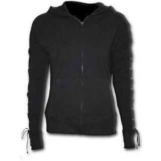 Sweat-shirt gothique femme noir à capuche et lacets