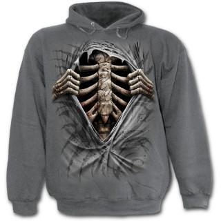Sweat-shirt gothique homme gris imitation déchiré sur cage thoracique