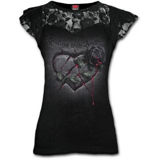T-shirt femme gothique à dentelles avec rose noire sur coeur de pierre ensanglanté