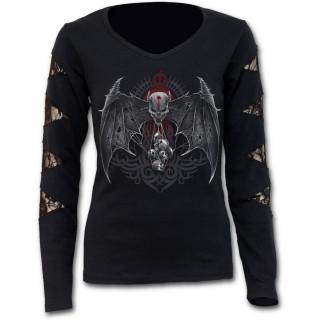 T-shirt femme gothique à manches longues, dentelle et crane à ailes de chauve-souris