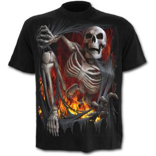 T-shirt gothique noir pour enfant à effet squelette sortant du vetement en flamme