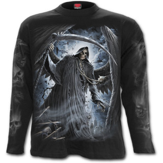 T-shirt homme gothique manches longues avec La mort entourée de ses fidèles chauves-souris